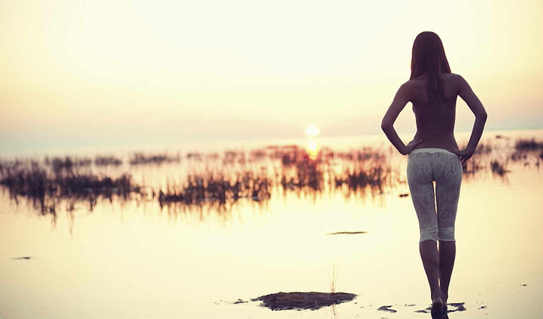 девушка, закат, девушки, спинои, water, ass, рисунок, стройная, тело,