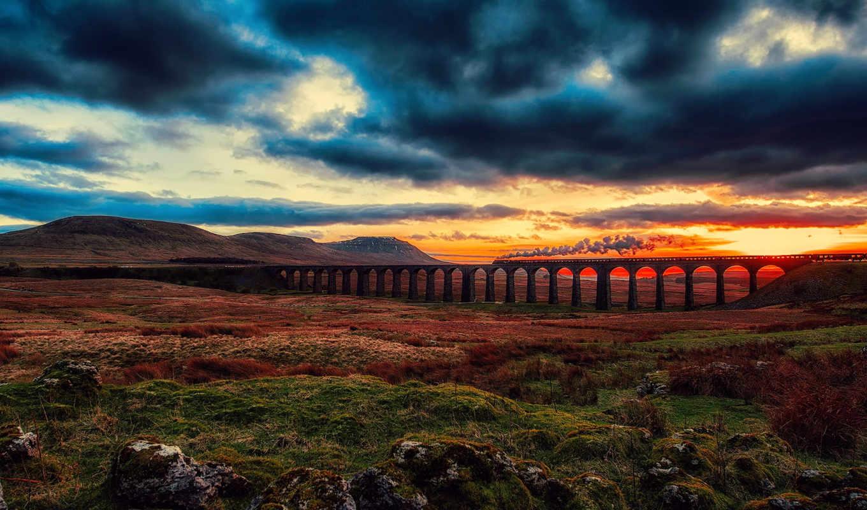 dale, united, англия, kingdom, chapel, поезд, мост,