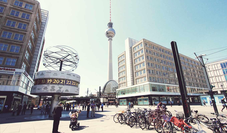 berlin, germanii, город, площадь, human, fernsehturm, berliner
