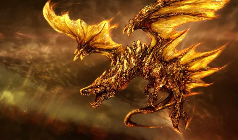 dragon, fantasy, трехмерной, графикой, фона, skin, gold,
