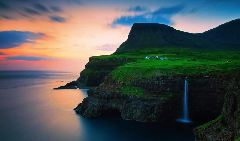 острова, фарерские, дании, королевство, islands, faroe, gásadalur, vagar, картинка, картинку,