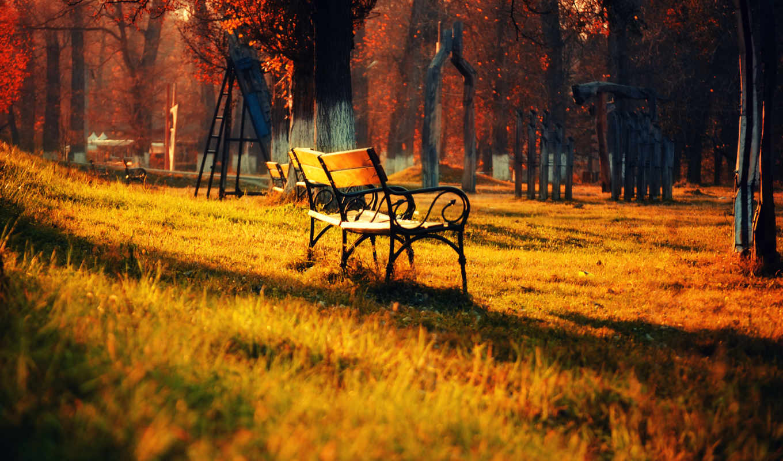 природа, парк, пейзаж, скамейка, трава, осень, листья, свет, деревья, widescreen, картинка,