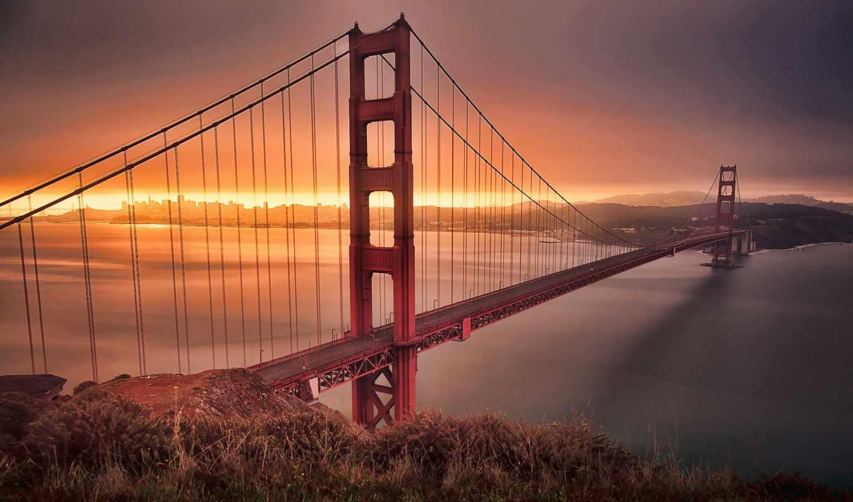 мост, дверь, золотые, san, франциско, утро,