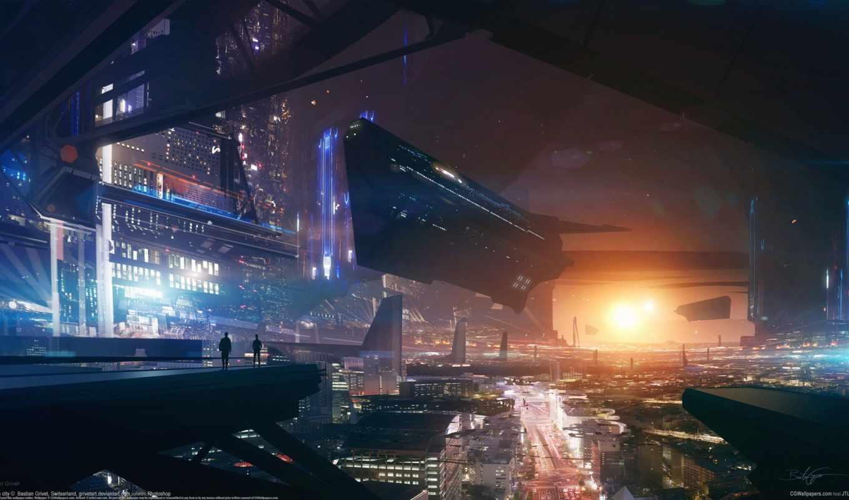 город, будущего, grivet, bastien, красивые, sci, кликабельно, будущее, art,