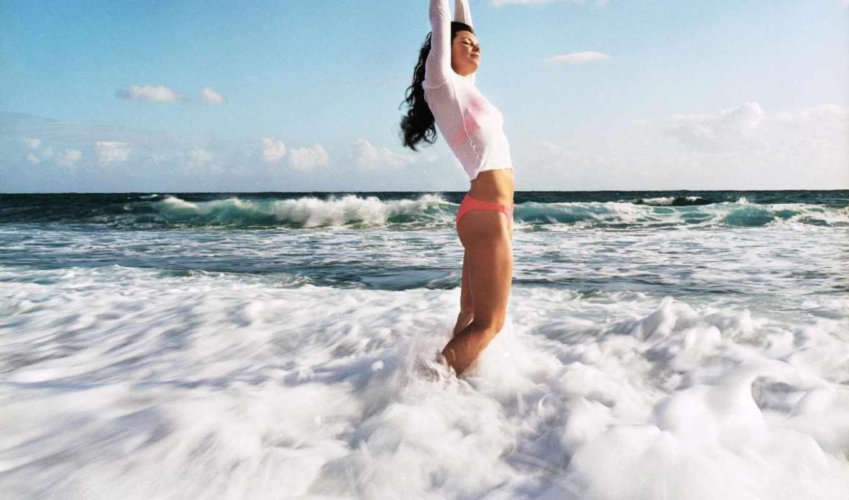 девушка, море, water, devushki, волны, небо, солнечно,