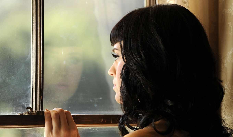 ожидание, девушка, окно, отражение, рука