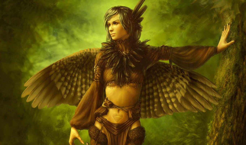 девушка, крылья, перья, дерево, птица, картинка, крыльями, категории, снег,