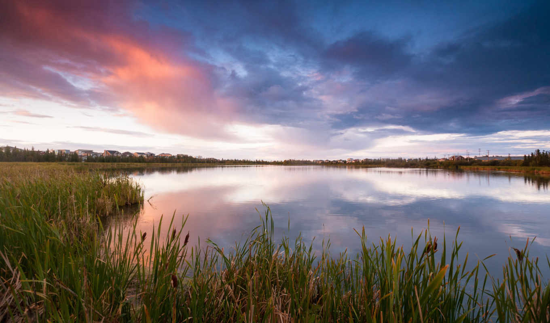 озеро, камыш, трава, вечер, небо, облака, домики, пейзаж,