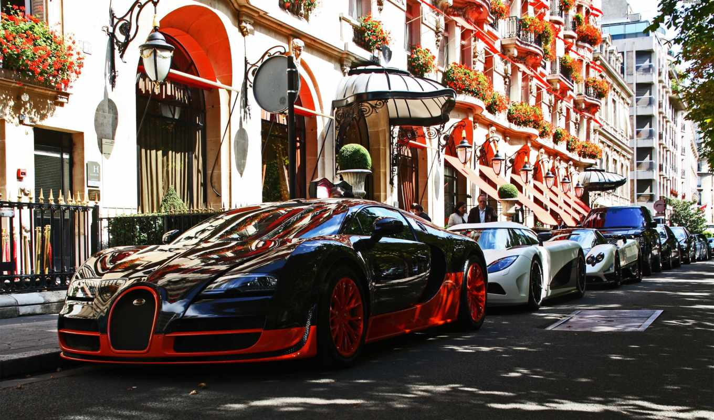 bugatti, париж, франция, veyron, parked, улица,