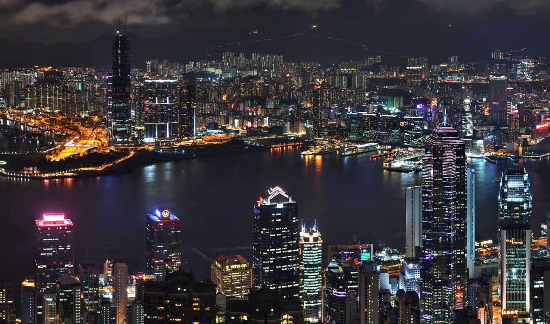 небоскребы, ночь, город, огни, nevseoboi, здания, морские,