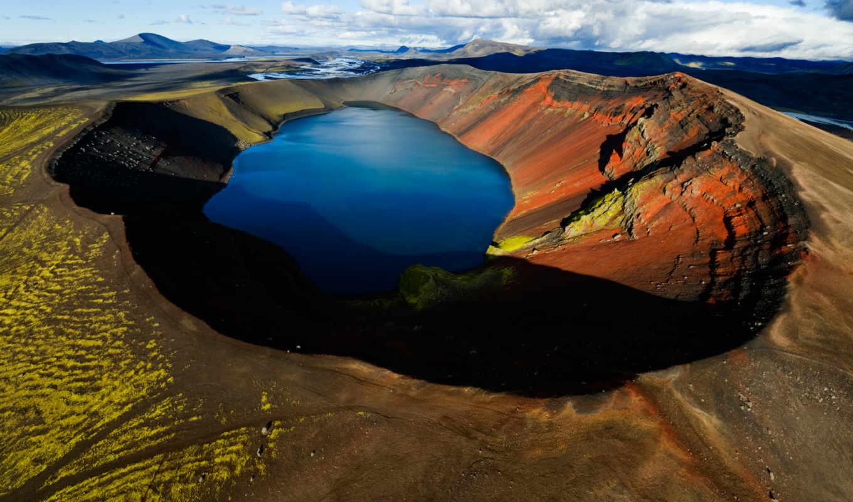 озеро, вулкан, гора, озера, crater, oblaka,