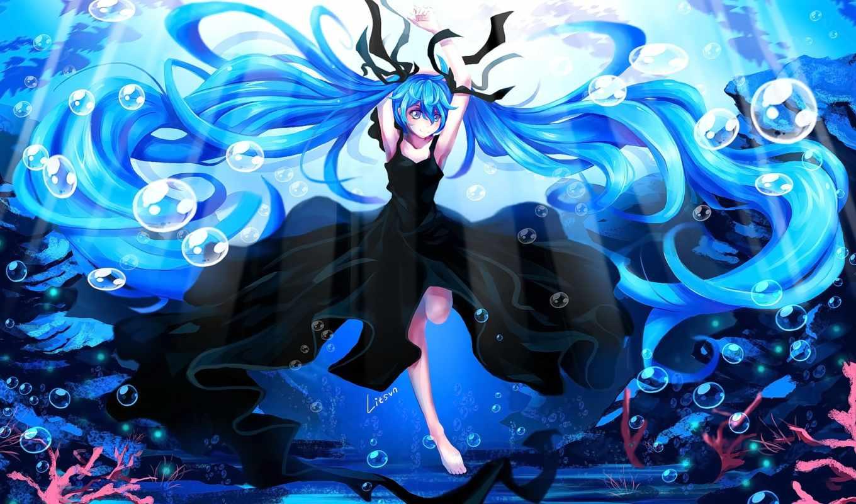 miku, hatsune, девушка, deep, море, vocaloid, anime, blue, волосы, платье,