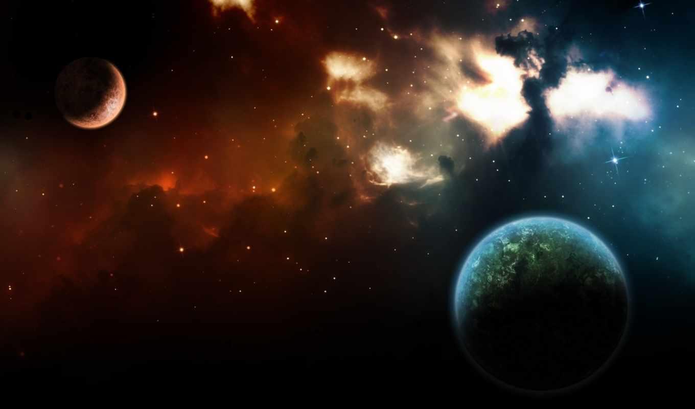 планеты, космос, звезды, туманность, вселенная, свет, картинку, картинка,