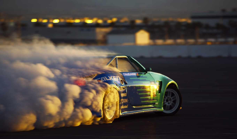 nissan, drift, дым, автомобили, спортивные, спорт, авто, машина,