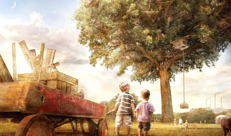 дерево, детство, дружба, brother, природа, добавлено, обоях,