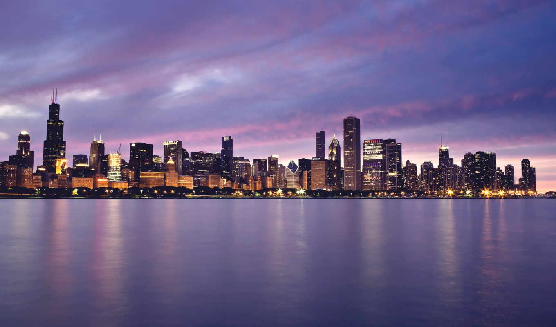 chicago, город, огни, совершенно, здания, закат, озеро, небоскребы,