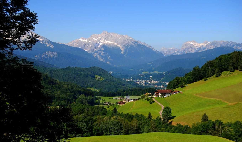 горы, деревня, луг, картинка, дек,