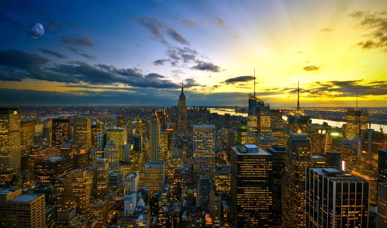 город, new, york, вечер, огни, фотообои, города, красивые,