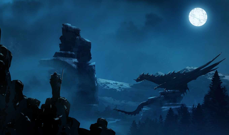 дракон, силуэт, луна, ночь, art, лицо, рисунок, fantasy