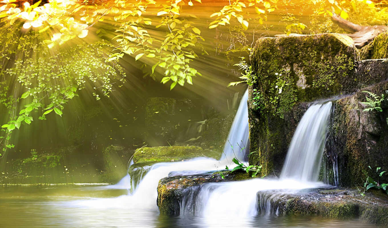 naturaleza, river, fondos, waterfalls, водопад, feng, shui, räume, landscape, spring,