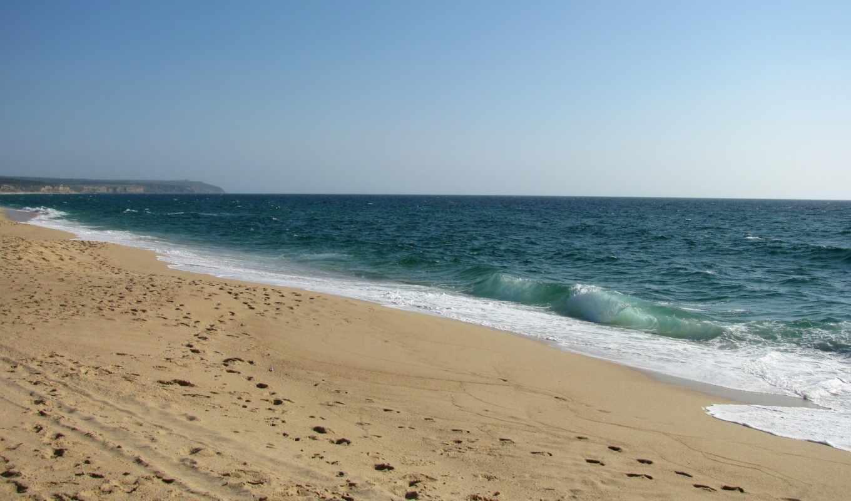 берег, море, пляж, волны, следы, песок, природа, прибой,