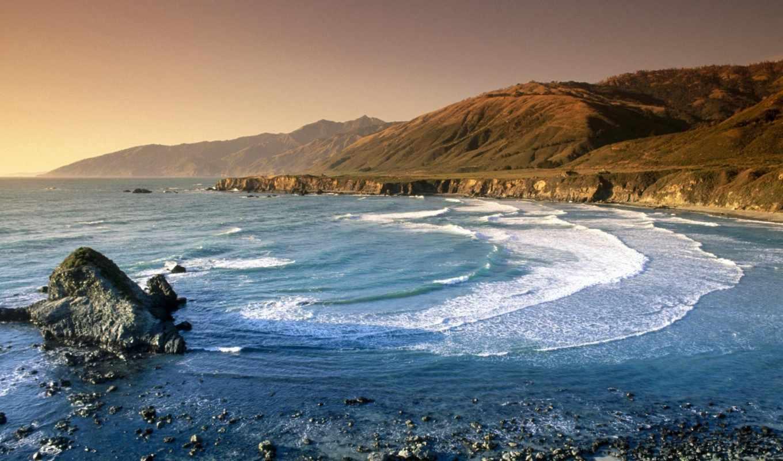 сша, море, горы, взгляд, волны, прибрежных, гор, among, дек,
