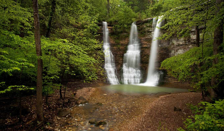 falls, водопад, лес, triple, река, kingdom, twin, природа, cliff, arkansas, тройные,