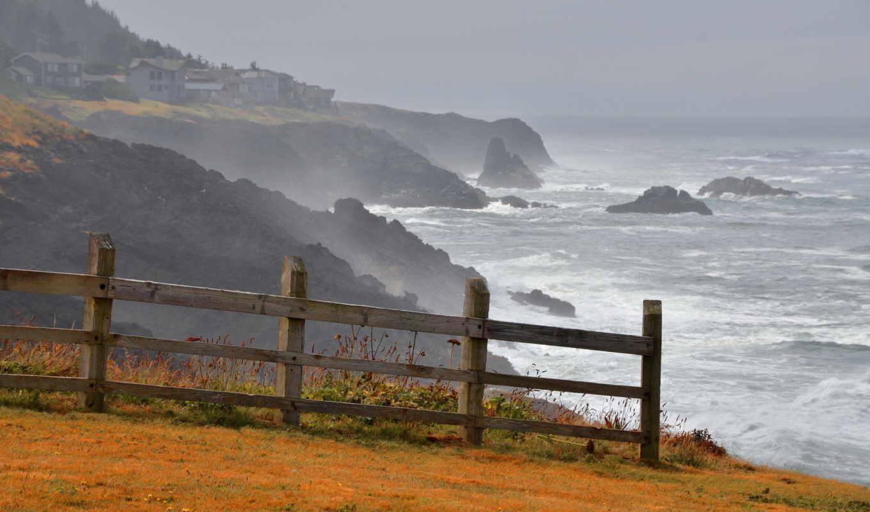 забор, берег, пейзаж, море, картинка, coast,
