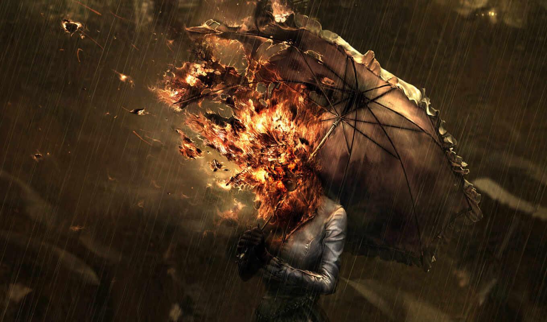 , picture, download, woman, save, fire, head, graphic, desktop, rainy, days, under, tags, sur,