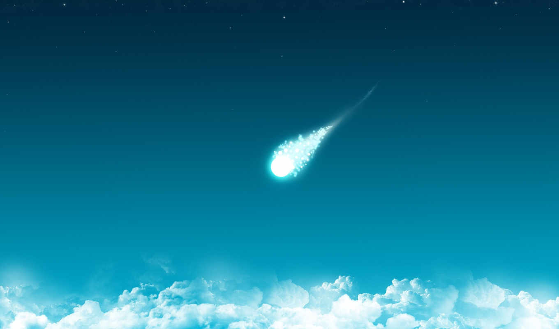 комета, облака, минимализм, синий, падающая, картинка,