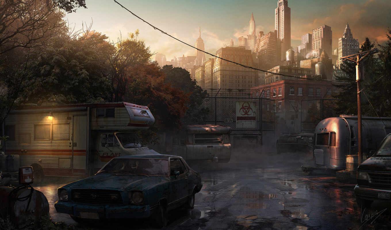 небоскребы, машины, автомобилей, kıyamet, парковка, гвозденко, заражение, старых,