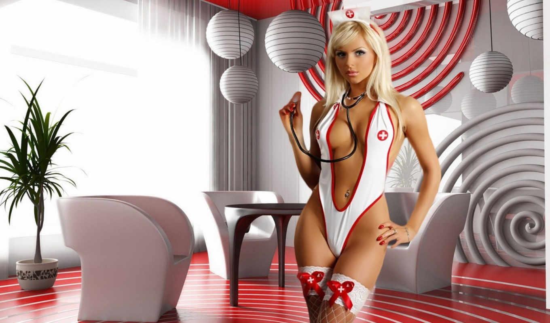 медсестра, blonde, чулки, чулках, грудь, девушки, ноги, девушка,