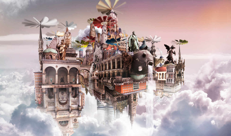 castle, облаках, графика,