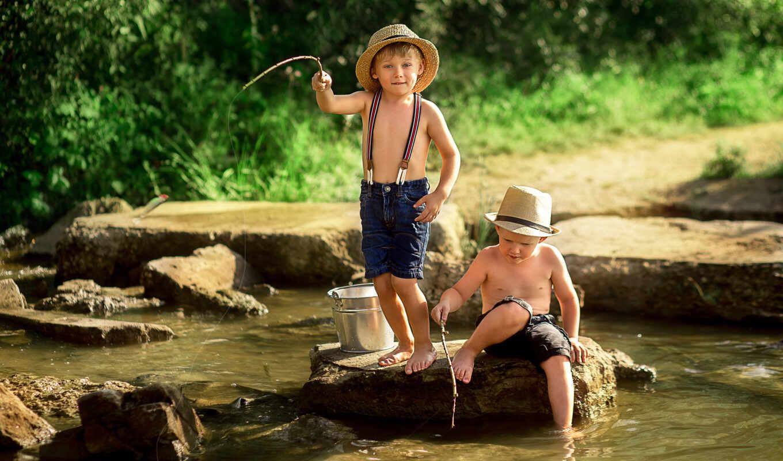 река, ребенок, fish, камень, природа, ковш, boy, summer, рыбак,