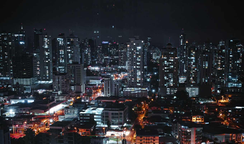 город, dark, ночь, architecture, огни