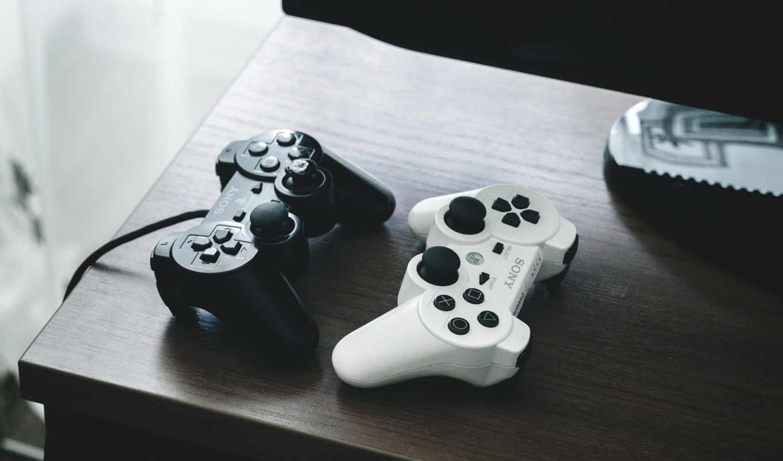 dualshock, gamepad, sony, черный, белый, стиль, июня, tech, широкоформатные, playstation,