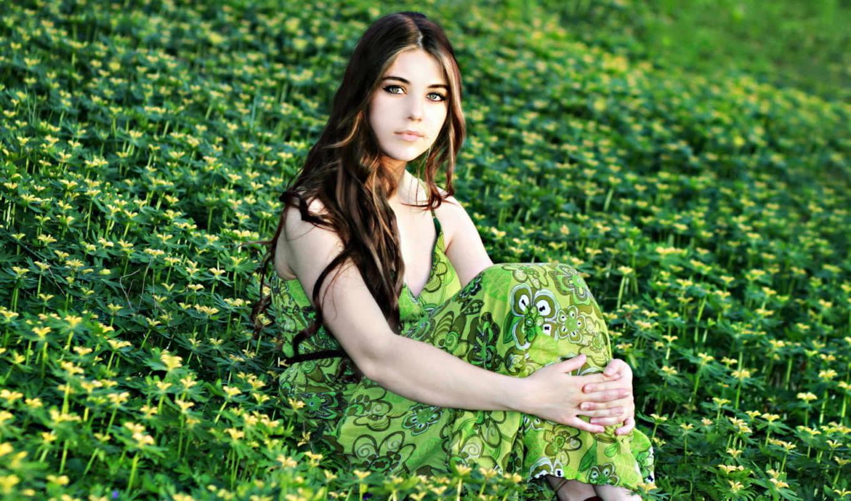 цветы, девушка, поле, природа, summer,