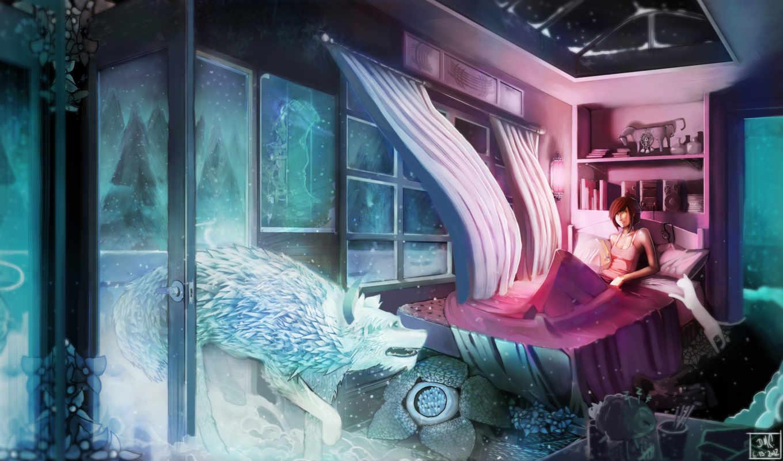 комната, winter, окно, снег, art, кровать, девушка, волк,