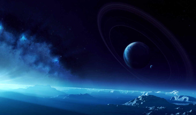 небо, планеты, кольца, поверхность, картинка,