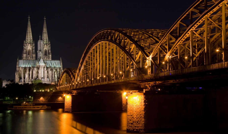 мост, ночь, собор, кёльнск, cologne, карлов, ночью, мосты,