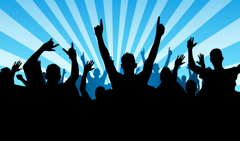 силуэт, взгляд, поднятыми, толпа, руками, мужчин, силуэты, люди, диско, руки,