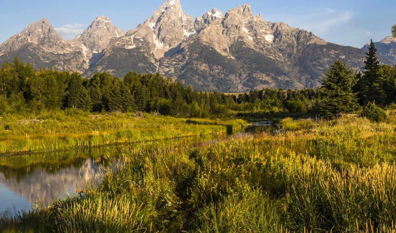 national, park, teton, grand, гора, озеро, планшетный, закат, трава
