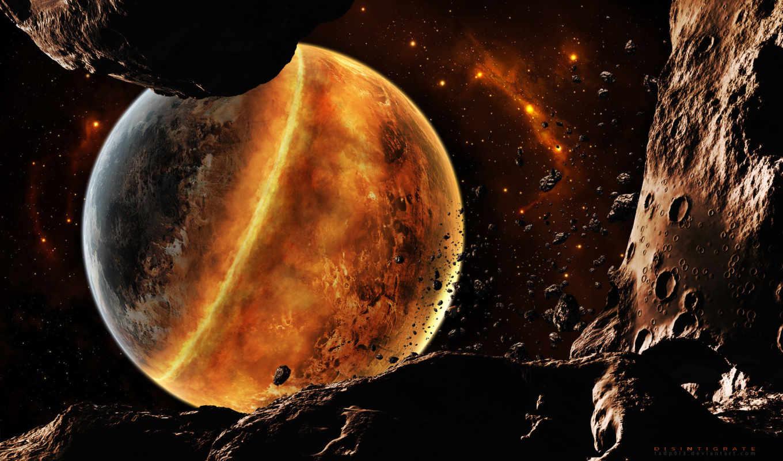катастрофа, космосе, космос, планета,