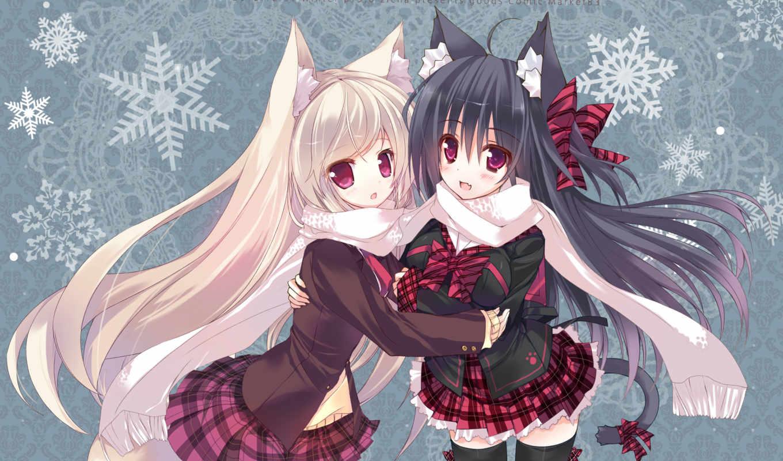 hair, аниме, black, ears, girls, long, ojitcha, animal, tail, original, blonde, bow, fang, checkered, неко, similar, девушки, skirt, картинку, blush,