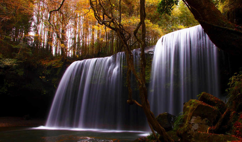 природа, водопад, деревья, река, осень,