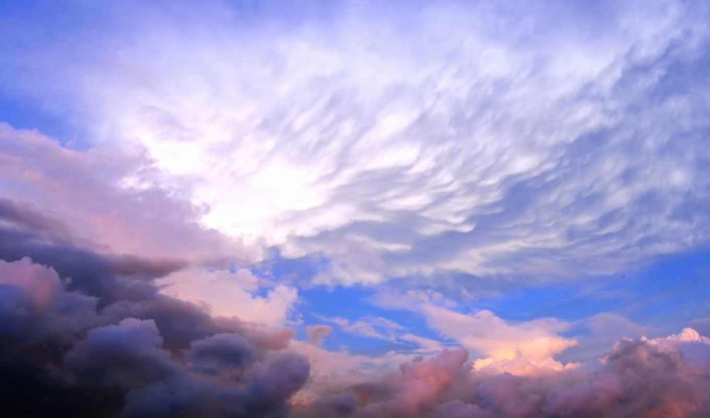 небо, закат, облака,