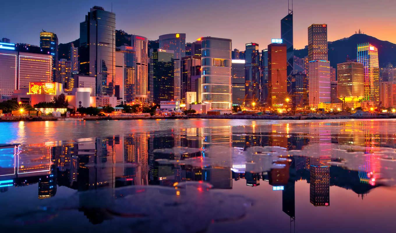гонконг, небоскребы, zakat, здания, вечер, залив, города, kong, hong,