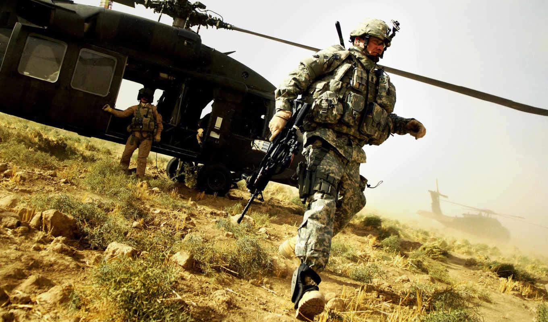 солдат, оружие, прицел, AR-15, экипировка, оптика, вертолёт, пилот