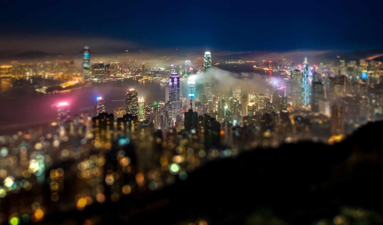 город, ночь, огни, effect, панорама, свет,