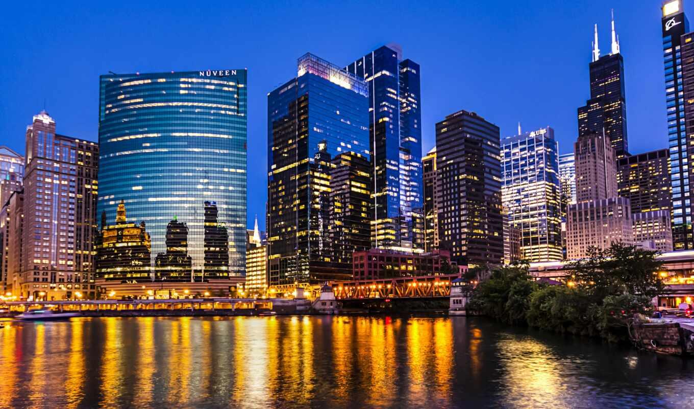 chicago, skyline, ночь, город